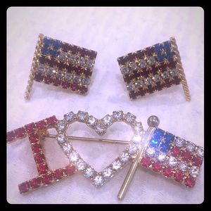 VINTAGE AMERICAN FLAG PIN AND EARRING SET